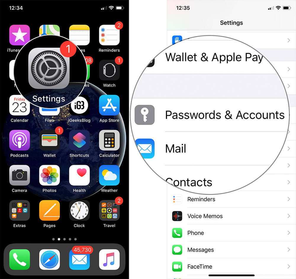 Tap on Settings then Passwords & Accounts on iPhone or iPad