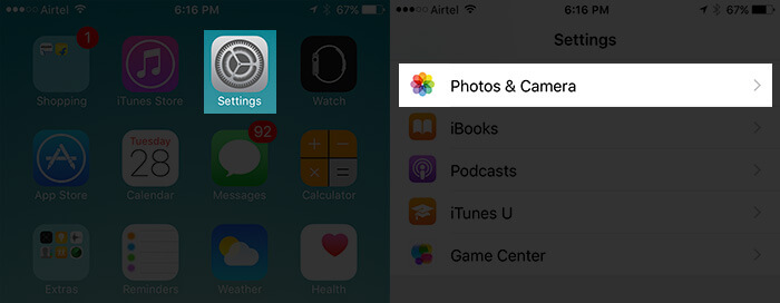 Tap on Settings then Photos & Camera on iPhone