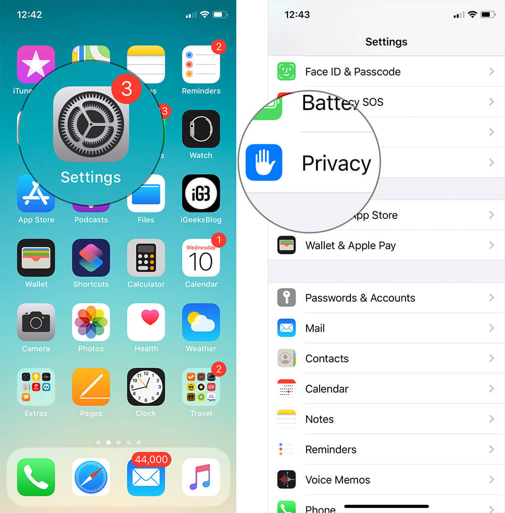 Tap on Settings then Privacy on iPhone or iPad