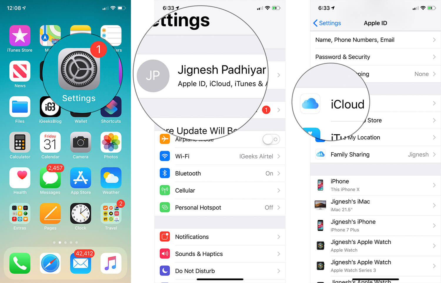 Tap on Settings then Profile then iCloud on iPhone or iPad