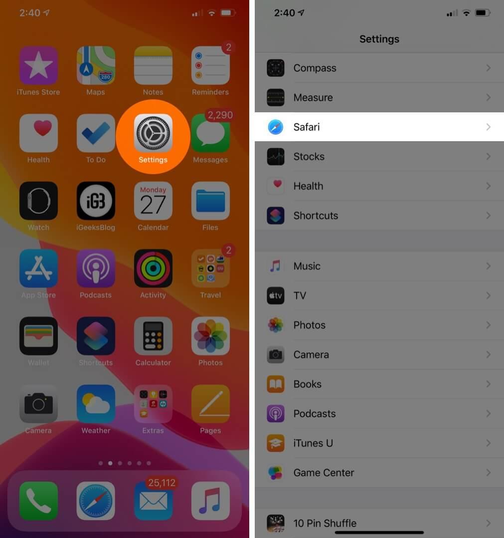 Tap on Settings then Safari on iPhone or iPad