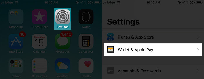 Tap on Settings then Wallet & Apple Pay on iPhone