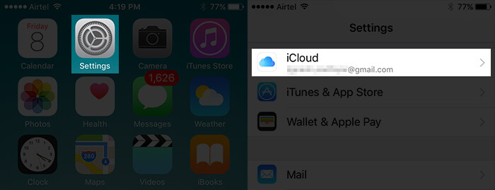 Tap on Settings then iCloud on iPhone