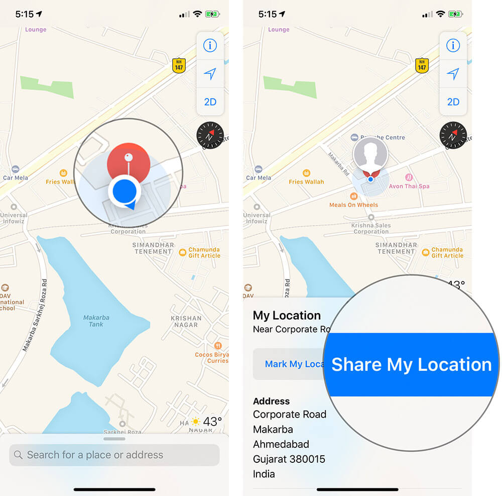 Tap on Share My Location in Maps on iPhone or iPad