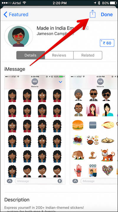 Tap on Share Sheet in iMessage Store on iPhone