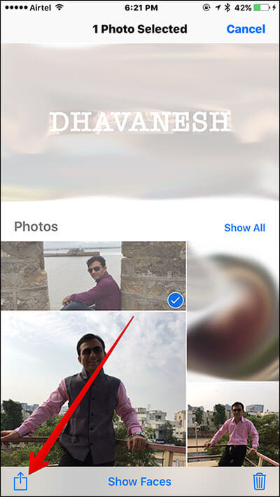 Tap on Share Sheet in iOS 10 People Album