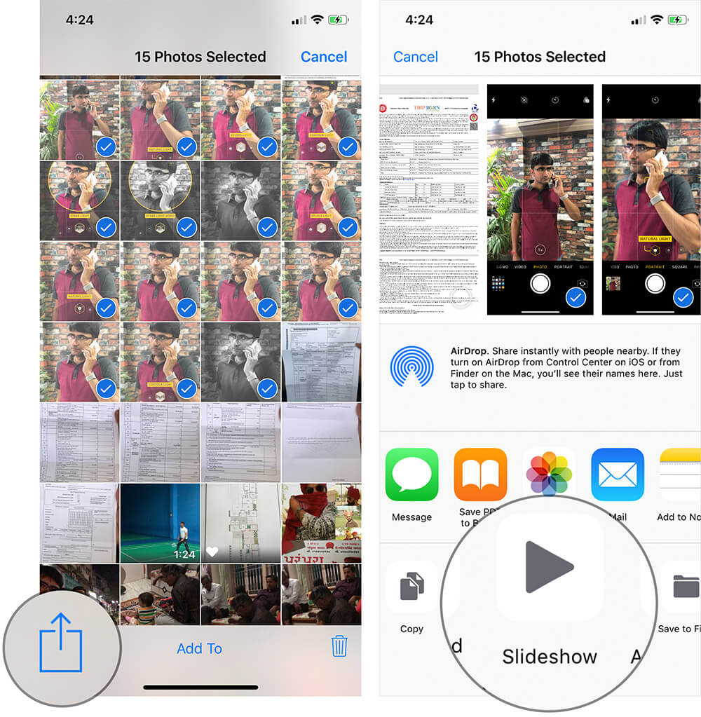 Tap on Share Sheet then Tap on Slide Show on iPhone