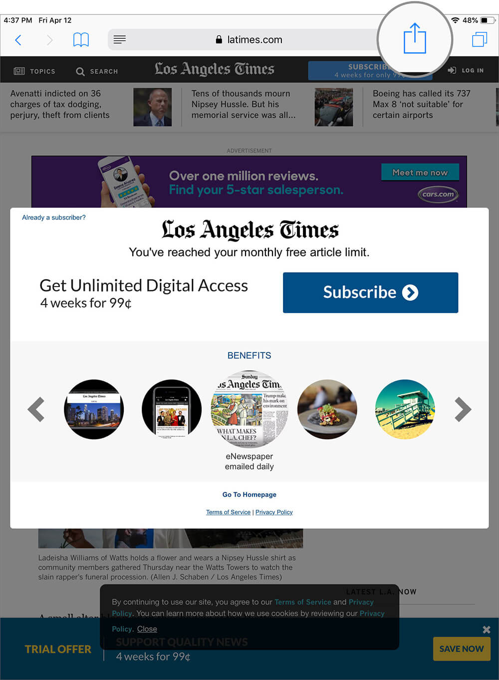 Tap on Share button to Access Paywalled Article you want to read in iOS Safari app