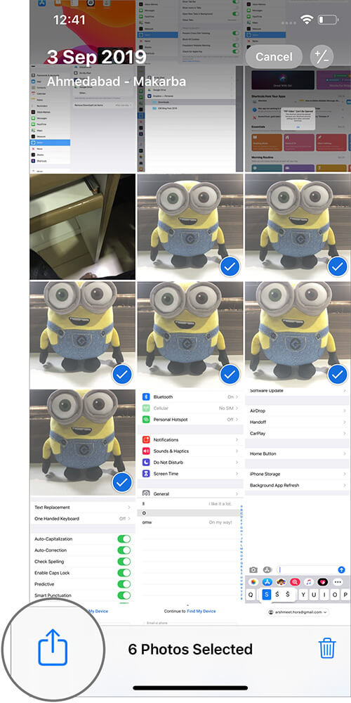 Tap on Share in iOS 13 Photos App on iPhone