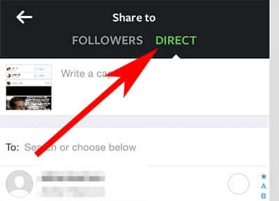 Tap on Share to Direct in Instagram iPhone App