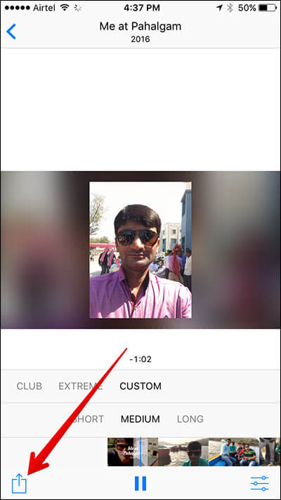 Tap on Sharesheet in Memory Slideshow in iOS 10