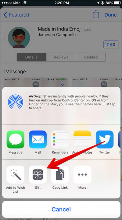 Tap on Sharesheet in iMessage Store on iPhone