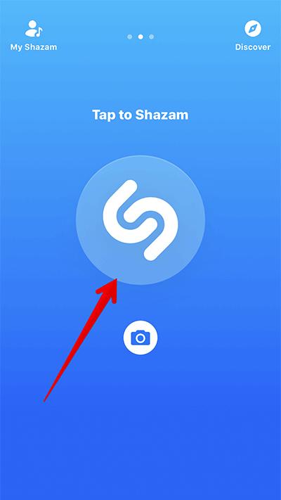 Tap on Shazam Button in Shazam iPhone App