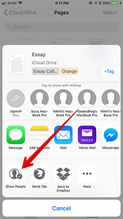 Tap on Show People in Files App on iPhone
