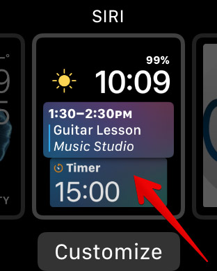 Tap on Siri Watch Face on Apple Watch