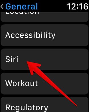 Tap on Siri in Apple Watch 3 Settings