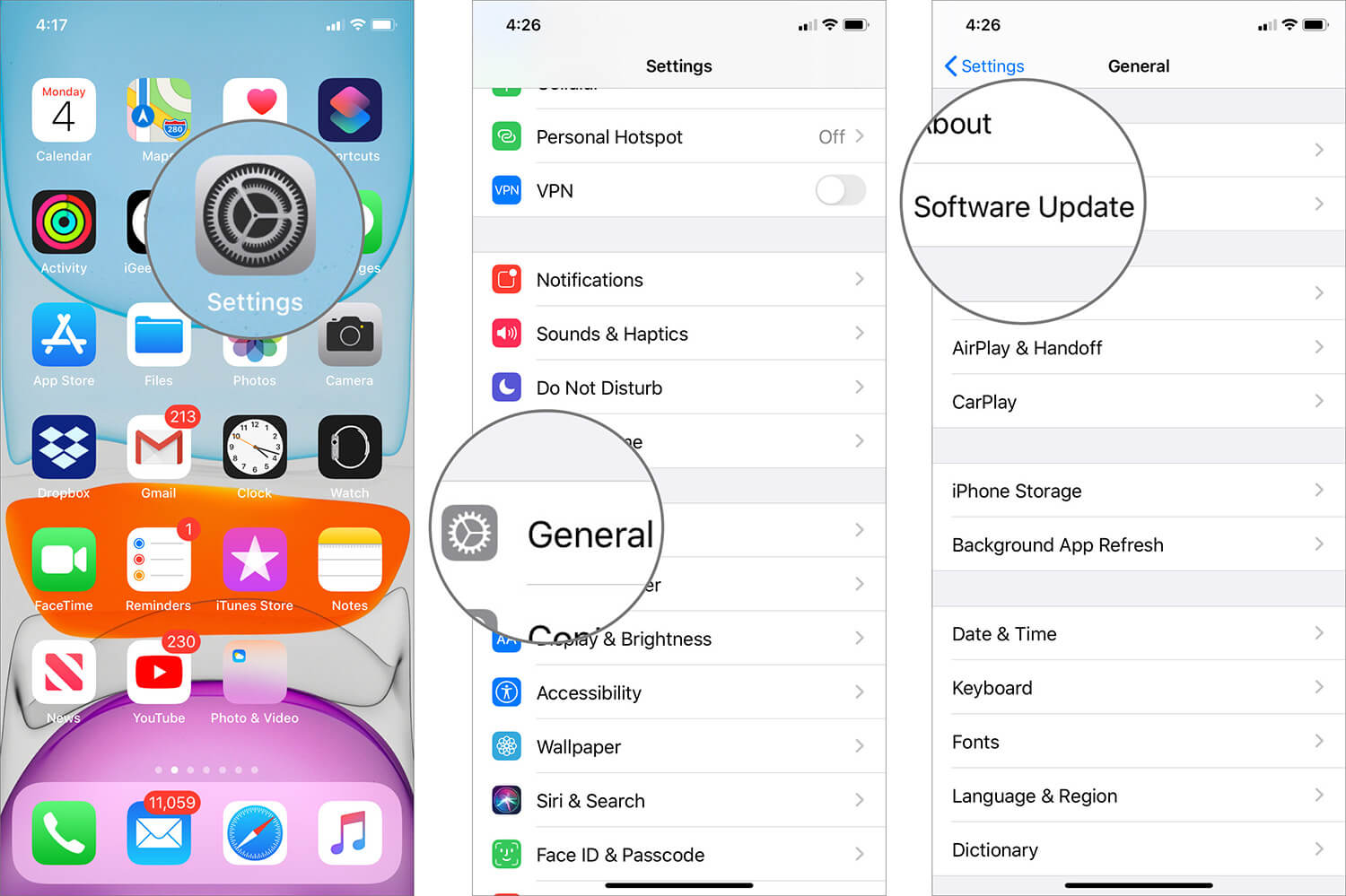 Tap on Software Update in iOS 13 Settings App on iPhone