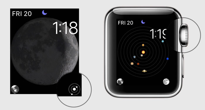 Tap on Solar System button and turn Apple Watch Digital Crown to view changing positions of the planets