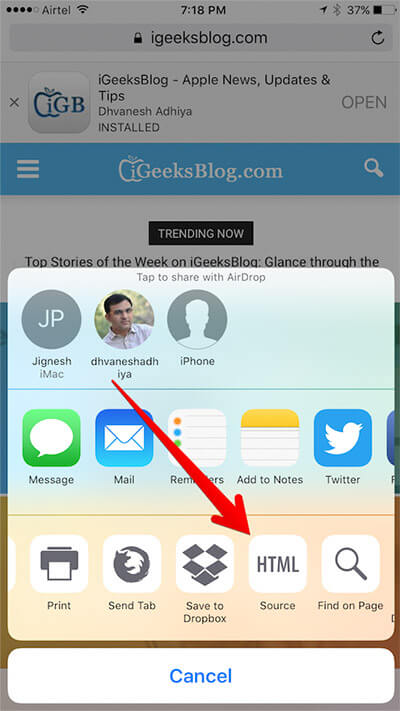 Tap on Source in Safari Sharesheet on iPhone