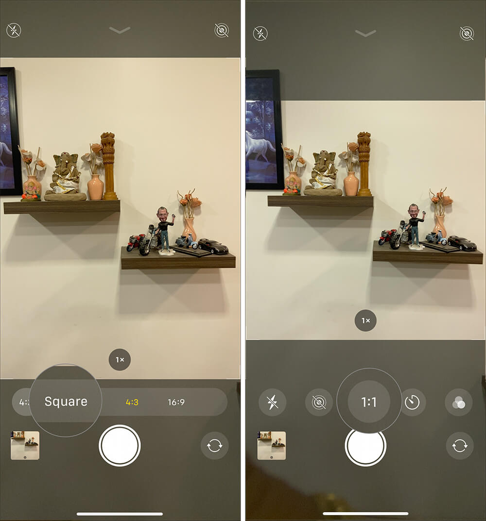 Tap on Square option to capture square photos in iPhone 11 Pro Max