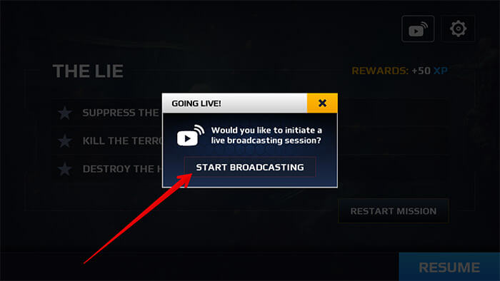 Tap on Start Broadcasting in Game on iPhone