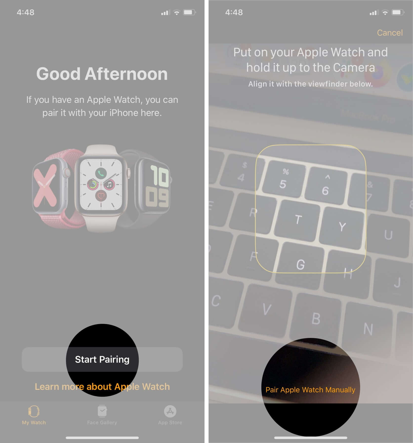 Tap on Start Pairing and Pair Apple Watch Manually
