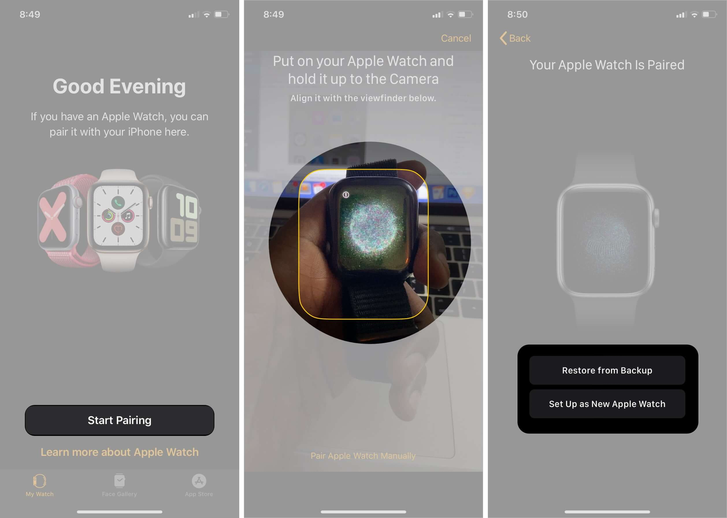 Tap on Start Pairing, put Apple Watch and hold it up to the Camera