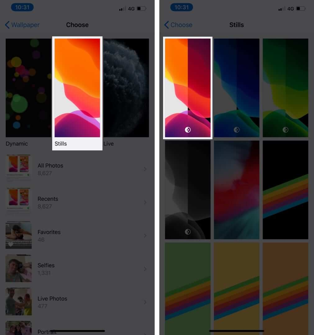 Tap on Stills and Select Wallpaper on iPhone