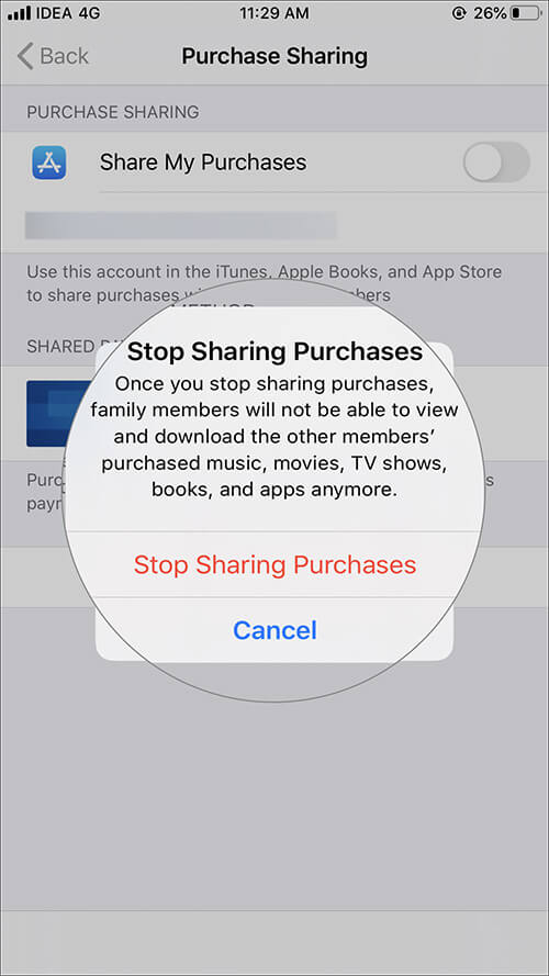 Tap on Stop Sharing Puchases in iOS 13 Family Sharing Settings