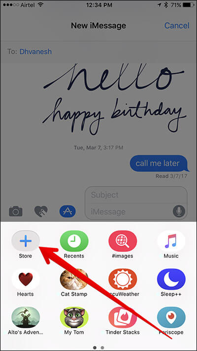 Tap on Store Button in Messages App on iPhone