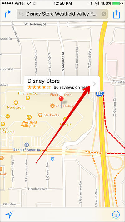 Tap on Store Name in Apple Map on iPhone