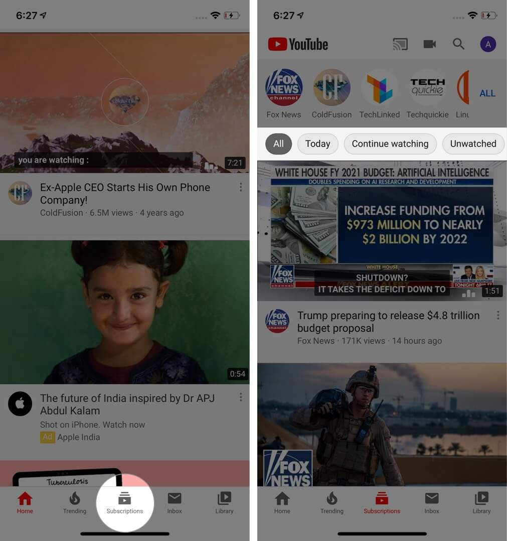Tap on Subscription and Select Preferred Subscription Filter in YouTube on iPhone