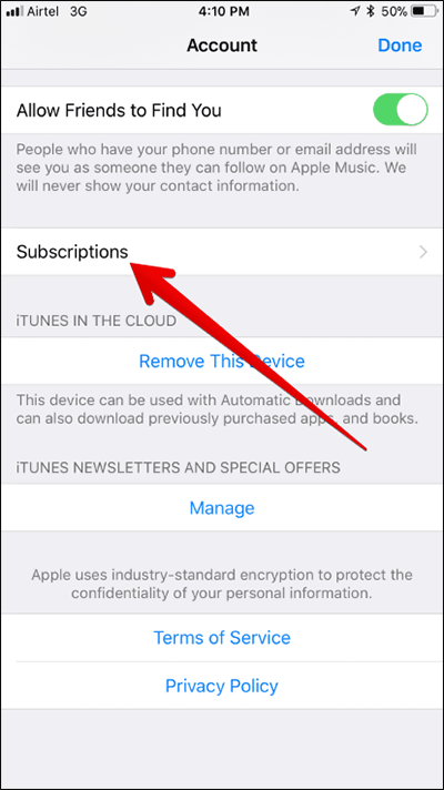 Tap on Subscriptions in Apple ID on iPhone