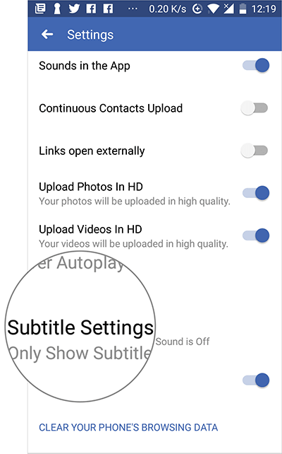 Tap on Subtitle Settings in Facebook on Android Device