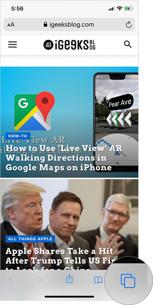 Tap on Tab Icon in Safari on iPhone or iPad