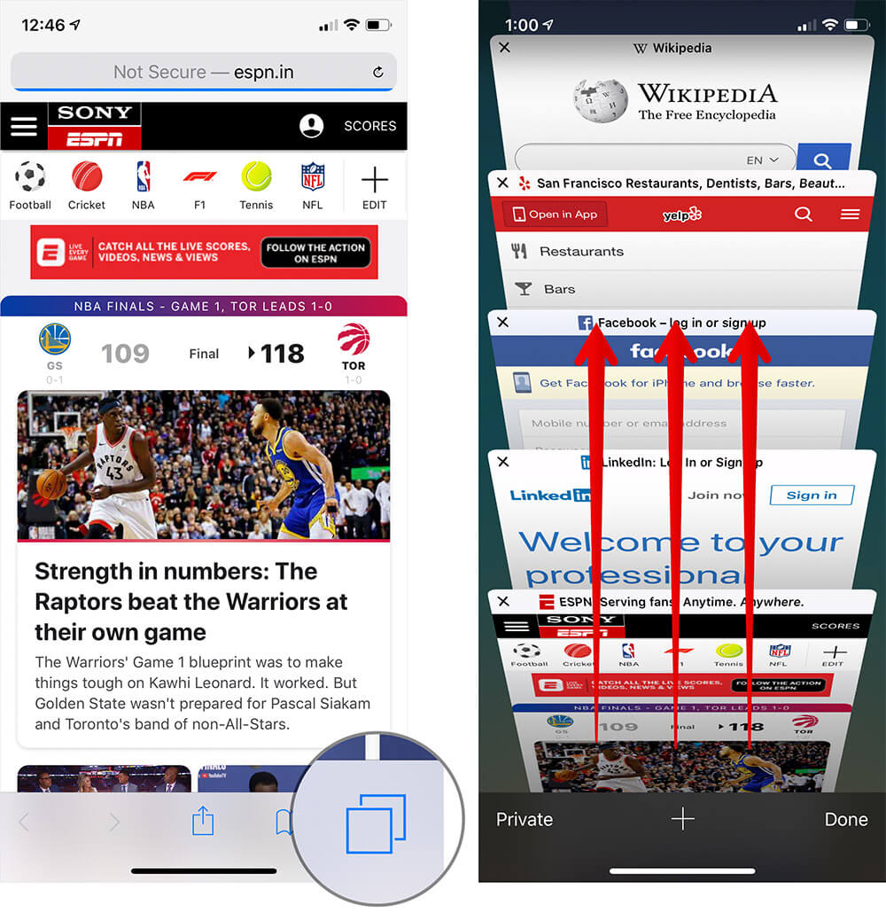 Tap on Tabs in Safari on iPhone or iPad