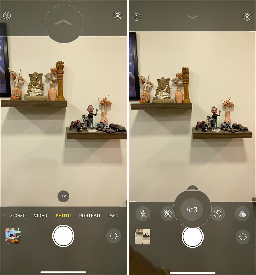 Tap on Tap on up Arrow icon and select size to capture square photos in iPhone 11