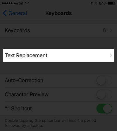 Tap on Text Replacement in Keyboard Settings on iPhone