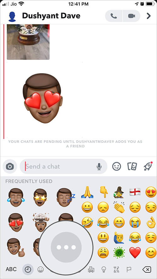 Tap on Three Dot Between Memoji and Emoji on iPhone