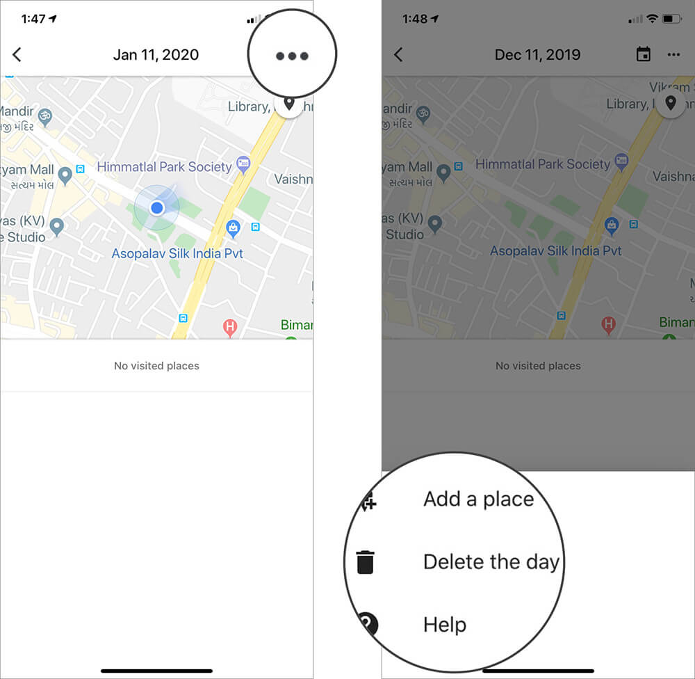 Tap on Three Dots and Select Delete the day in iOS Google Maps