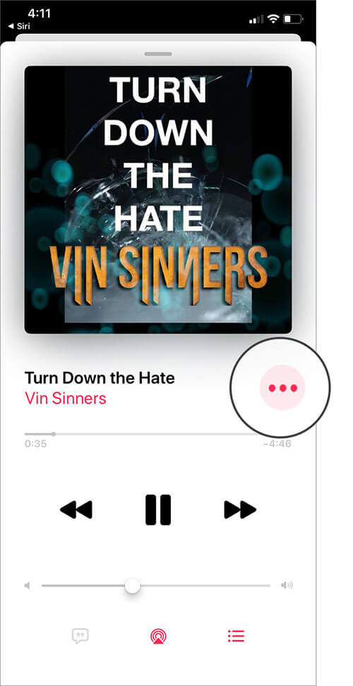 Tap on Three Dots icon in Music App on iPhone