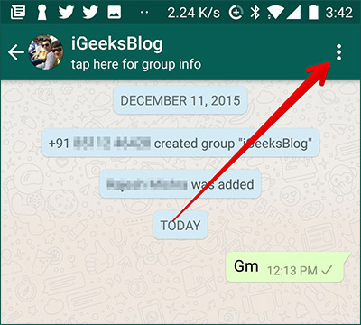 Tap on Three Dots in WhatsApp on Andorid