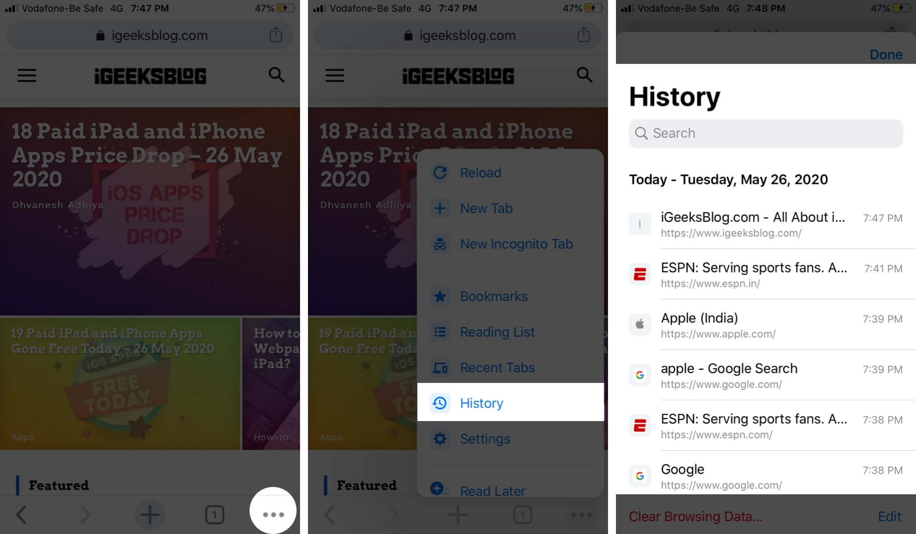 Tap on Three Dots to View Browsing History in Chrome App on iPhone