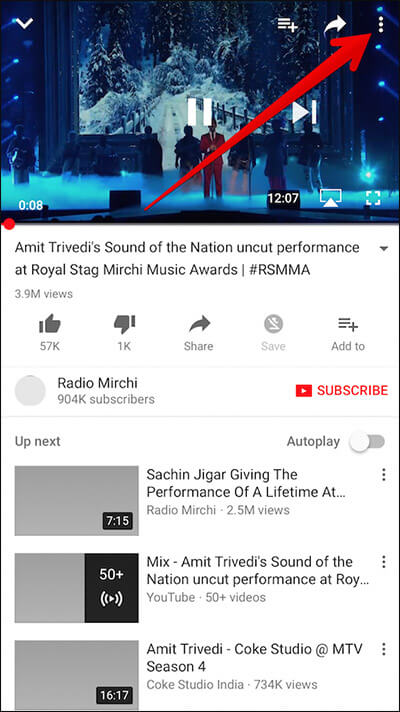Tap on Three Vertical Dots in YouTube App on iPhone