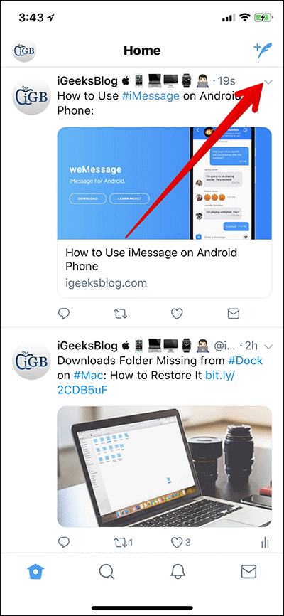Tap on Tiny Arrow Icon in Twitter on iPhone