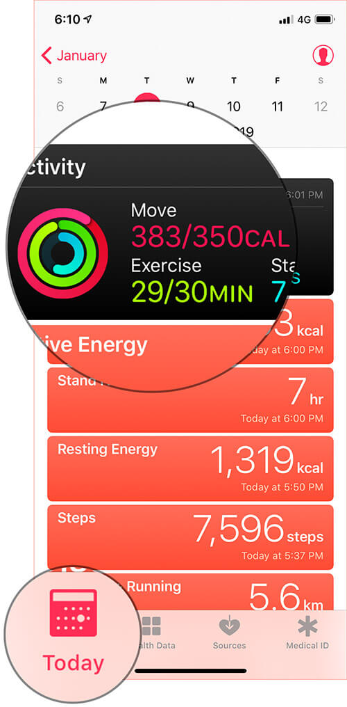 Tap on Today Tab then Tap on Activity Banner on iPhone