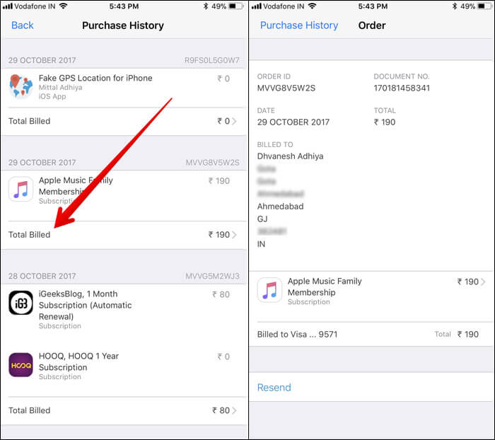 Tap on Total Billed to view the details of invoice on iPhone