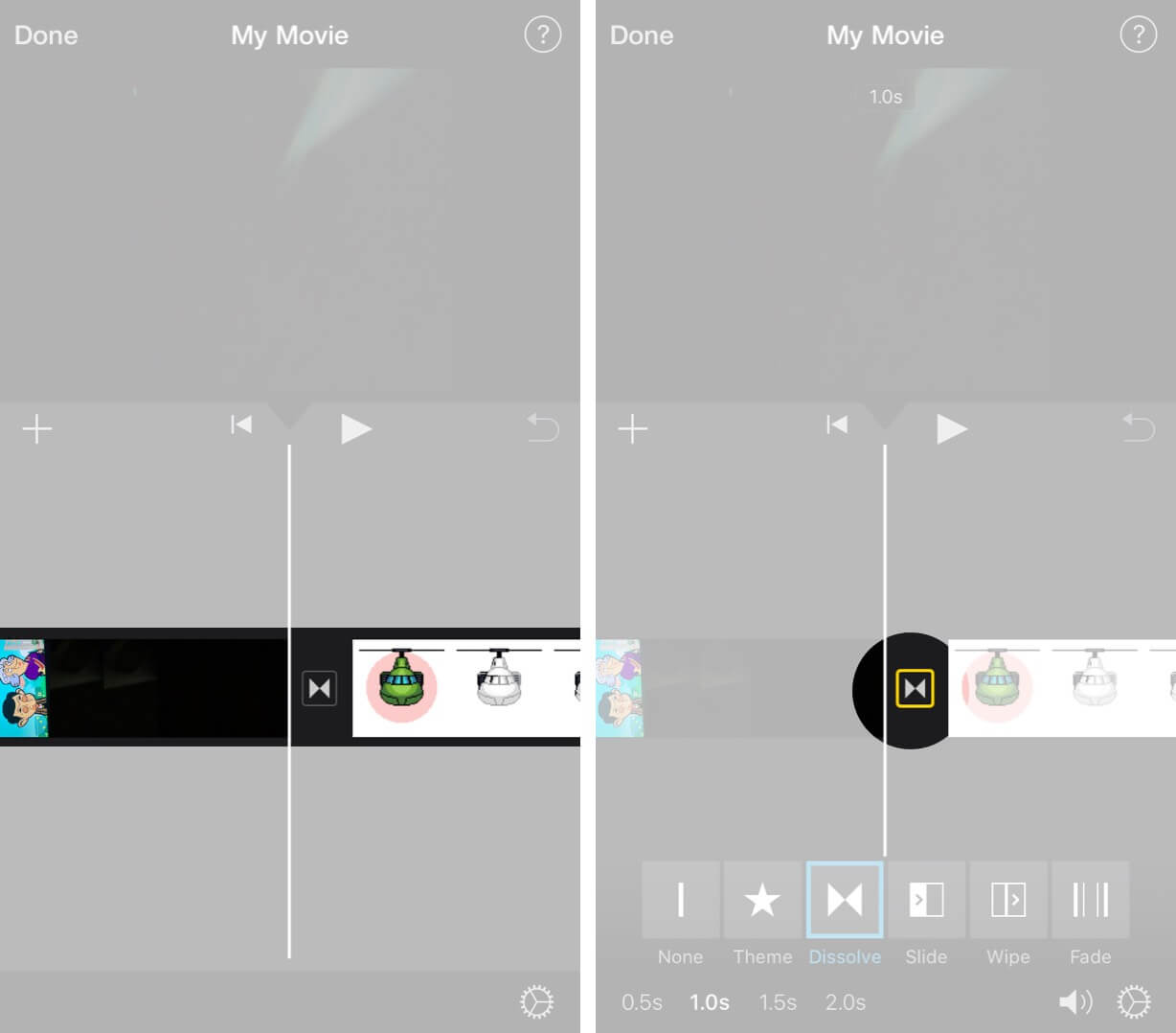 Tap on Two Triangles to Merge Videos on iPhone using iMovie