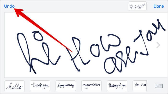 Tap on Undo in Handwritten Message on iPhone