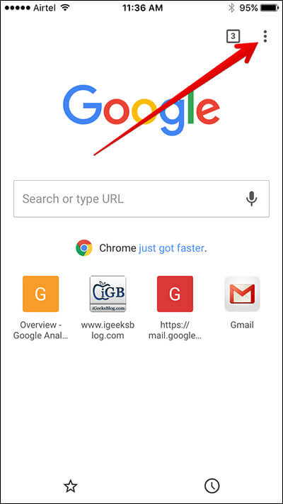 Tap on Vertical Ellipsis in Chrome App on iPhone